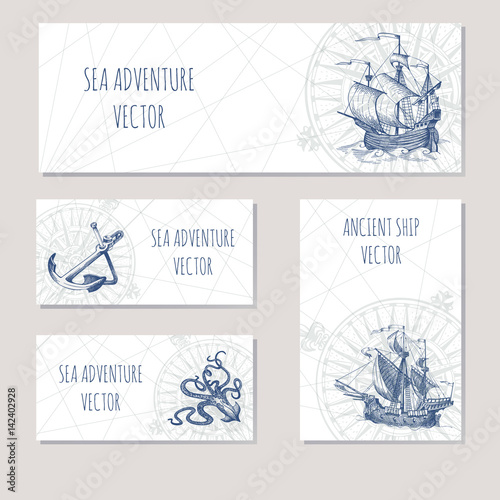 Old caravel, vintage sailboat. Sea adventure vector background. Doodles design elements business cards, banners.