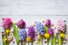 Easter Wooden Background With ...