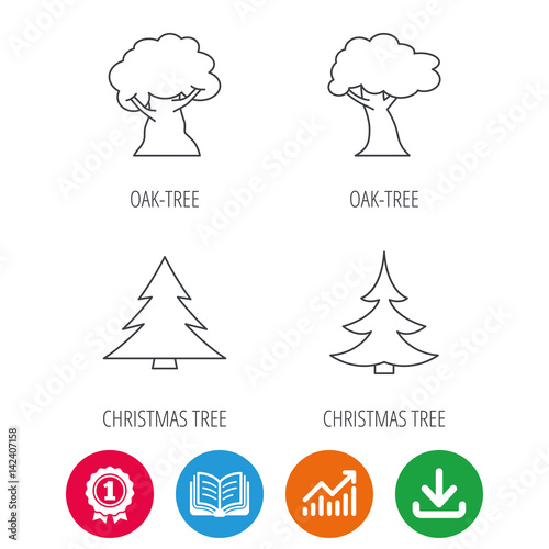 Christmas Arrow Signs.Tree Oak Tree And Christmas Tree Icons Forest Trees Linear