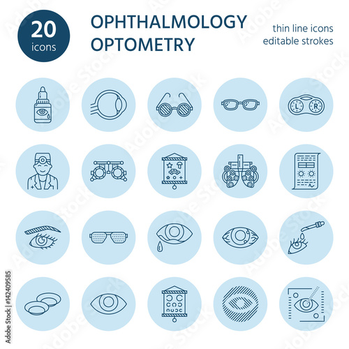Fotografía  Ophthalmology, eyes health care line icons