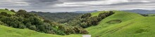 Lush Green Winter Panorama After A Long Drought Ends In Northern California. Briones Regional Park, Martinez, Contra Costa County, California, USA.
