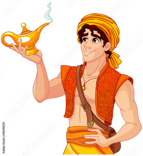 Tuinposter Sprookjeswereld Aladdin and the Wonderful Lamp