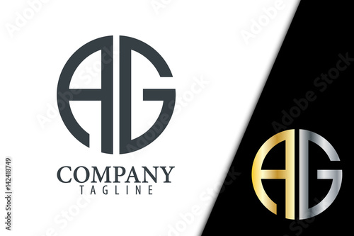 Initial Letter AG With Linked Circle Logo Wallpaper Mural