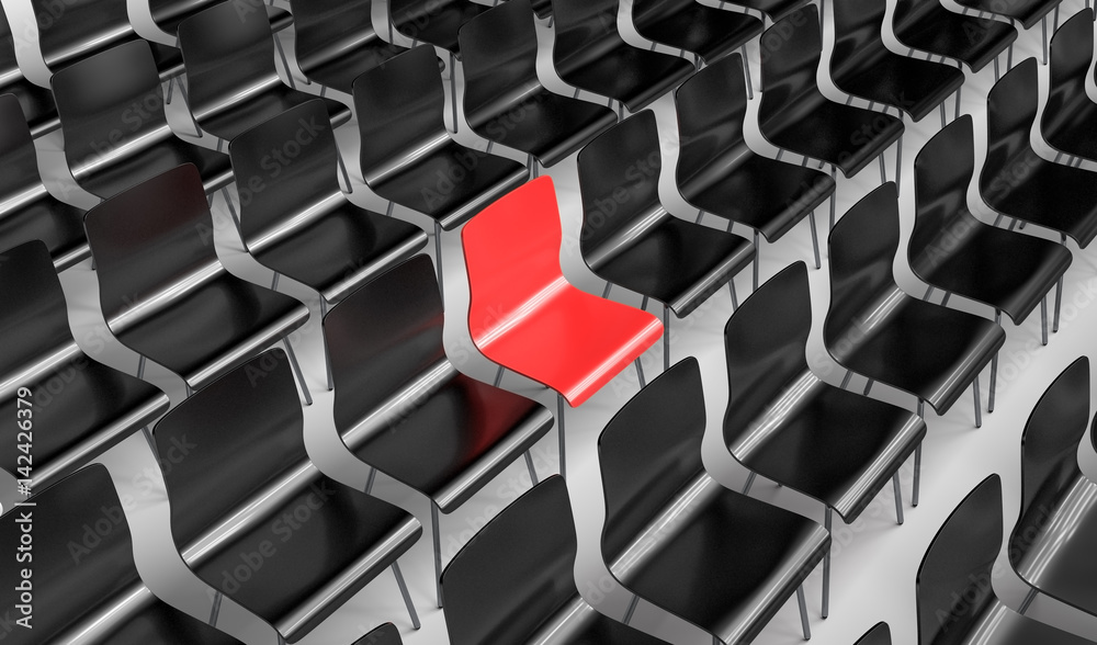 Fototapeta Black Chairs / Single red Chair