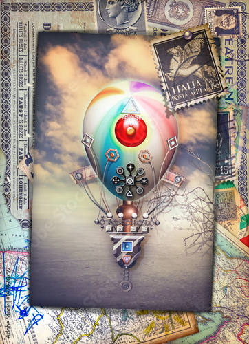 Steampunk hot air balloon in the enchanted country-vintage postcard © Rosario Rizzo
