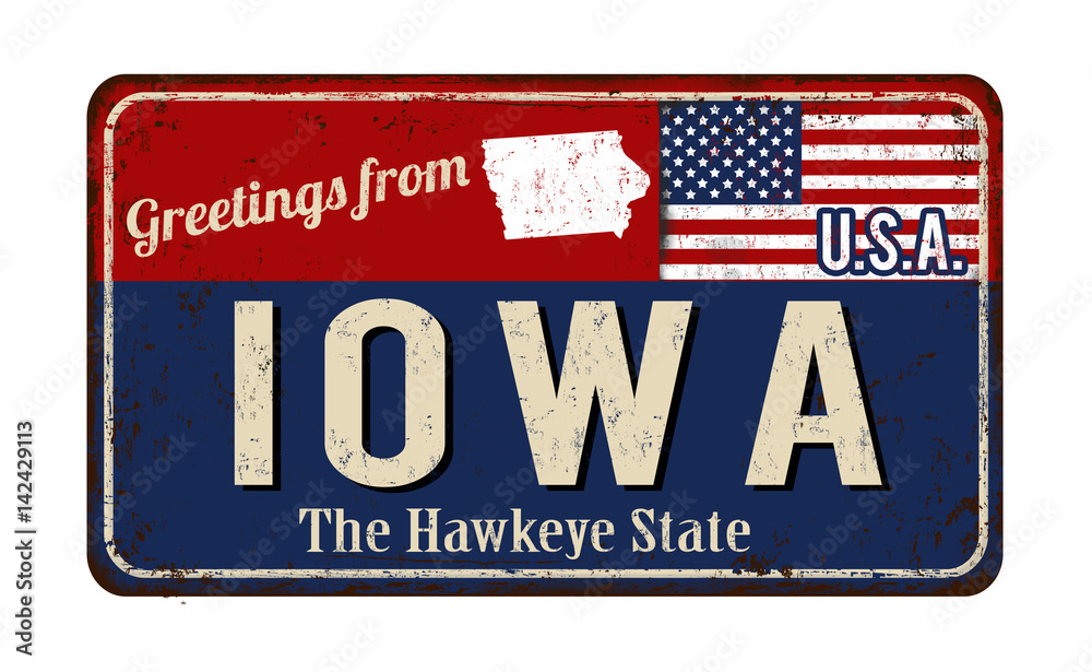 Photo  Greetings from Iowa vintage rusty metal sign
