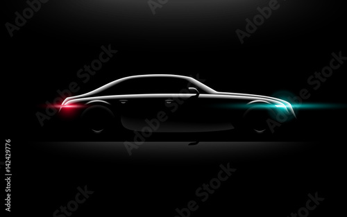 Photographie  Realistic business luxury prestige car lit in the dark