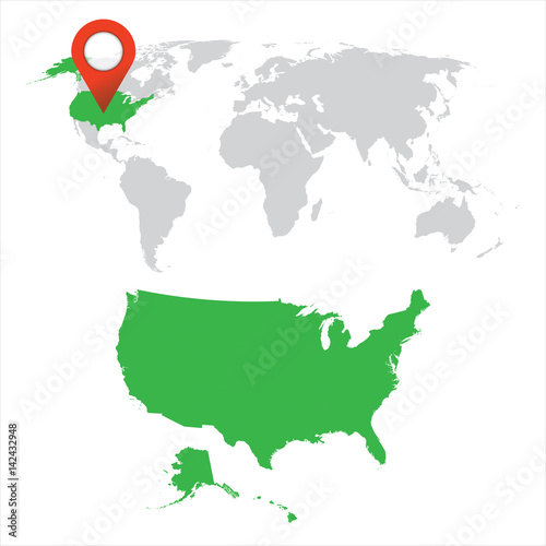 Detailed map of USA and World map navigation set. Flat vector ...
