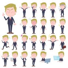 Blond Hair Suit Style Old Man/同じシリーズはtoyotoyoポートフォリオ内から「親しみ デフォルメ」と検索してください