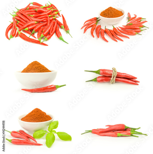 Staande foto Hot chili peppers Collection of hot spices isolated on a white cutout