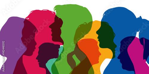 Fototapeta Femmes - Silhouettes - Profils - portrait - visage - tête - égalité obraz