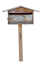 Old Wooden Mailbox Isolated On White Background