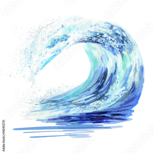 Abstract wave Watercolor hand drawn ocean falling down wave