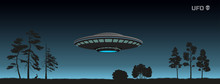 Silhouette Of UFO Over A Night...