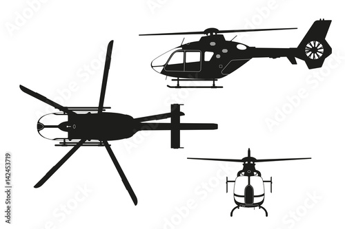 fototapeta na szkło Black silhouette of helicopter on white background. Top, side, front view. Isolated drawing. Vector illustration
