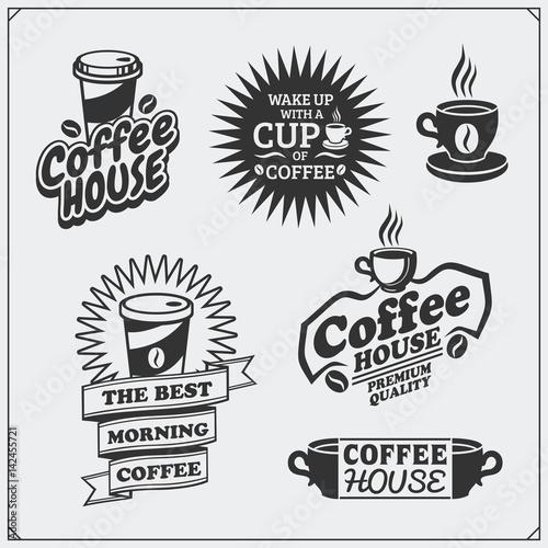 Photo sur Toile Papillons dans Grunge Set of coffee badges, labels and design elements. Coffee shop emblems templates.