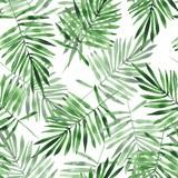 Zielone liście. Akwarela bezszwowe wzór. Ręcznie rysowane tła kwiatowy - 142457956