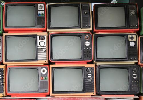 Fototapeta Old retro television and blank screen display obraz na płótnie