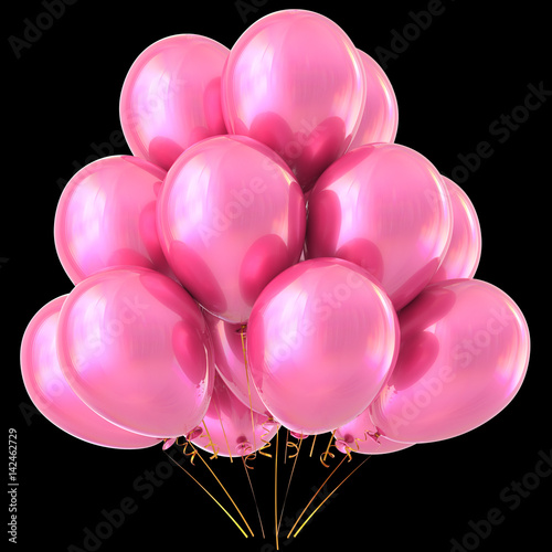 Pink Balloons Happy Birthday Party Decoration Glossy Holiday Anniversary Celebrate Wedding Honeymoon Valentines Day Carnival Marriage Greeting Card Design