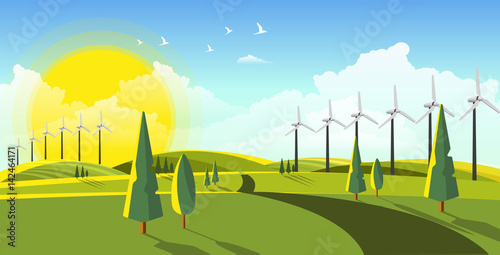 Fotobehang Lichtblauw Beautiful vector landscape with eco windturbines.