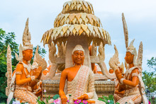 Buddha Image With Thai Literature Goddesses Made From Wax For Marching In Candle Festival In Ubonratchthani, Thailand