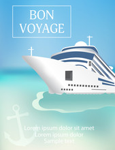 Cruise Ship Poster With «Bon Voyage» Headline. Transatlantic Liner Ship, Anchor. Vector