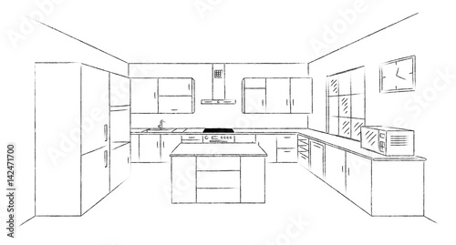 Sketch Hand Drawing Kitchen Interior Plan With Island