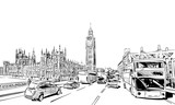 Fototapeta Londyn - London cityscape hand drawn. Big Ben. England. vector illustration.