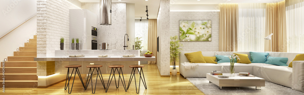 Fototapety, obrazy: Living room with modern kitchen in big house