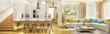 Leinwanddruck Bild - Living room with modern kitchen in big house