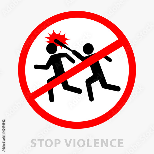 Sign stop violence  One symbolically drawn person catches up