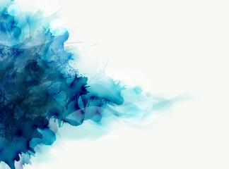 Niebieska akwarelowa duża plama rozprzestrzenia się na jasnym tle. Kompozycja abstrakcyjna dla eleganckich wzorów.