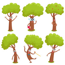 Set Of Funny Comic Tree Charac...