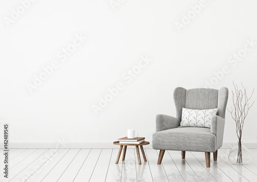 Simple And Cozy Scandinavian Style Livingroom Interior With Grey Armchair,  Pillow, Books, Cup