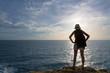 Traveler asia woman on sea cliff