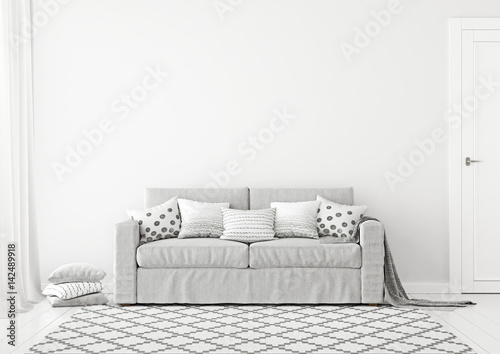 Simple And Neutral Livingroom Interior With Grey Sofa Graphic Pattern Pillows Plaid Scandinavian