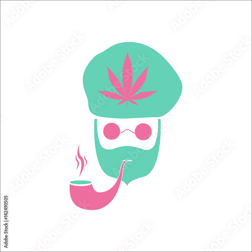 Photo  Abstract Rastaman man's face simple flat icon on background