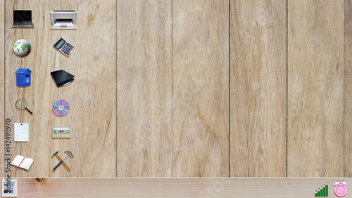 Astounding Office Material Icons On Wooden Plank Background Like A Interior Design Ideas Helimdqseriescom