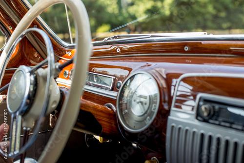 Retro car, retro torpedo car, vintage steering wheel фототапет