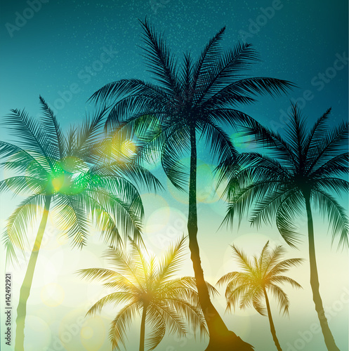 Palm trees, vintage toned and stylized. Vector illustration.EPS10 Wall mural