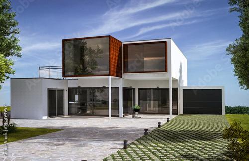 Maison moderne d\'architecte – kaufen Sie diese Illustration und ...