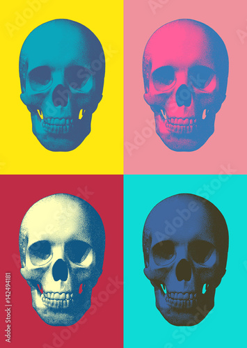 Colorful pop art skull in front view Wallpaper Mural