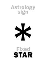 Astrology Alphabet: Fixed STAR. Hieroglyphics Character Sign (single Symbol).
