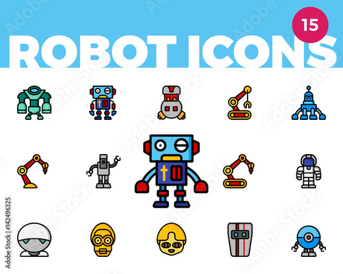 Robot Icons 2 of 4 (Ultra Color) Canvas Print