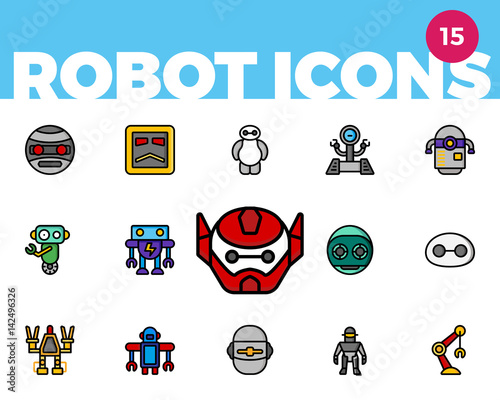 Robot Icons 1 of 4 (Ultra Color) Wallpaper Mural