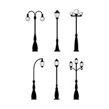 Vintage Streetlights Black Silhouettes Set