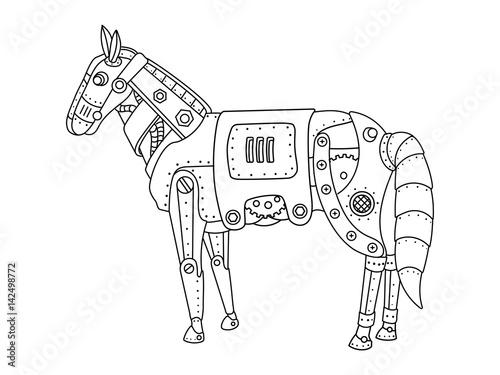 Steam punk horse coloring book vector – kaufen Sie diese ...