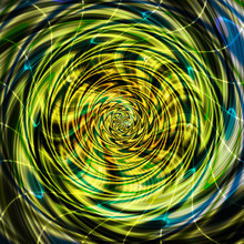 Abstract Rotating Swirling Background Of Spirals With Rays. Green, Brown, Yellow And Blue Vortex Resembling Liquid
