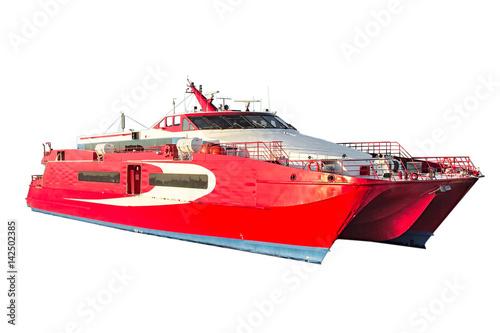 Fotografie, Obraz  Speedy passenger catamaran carved on a white background