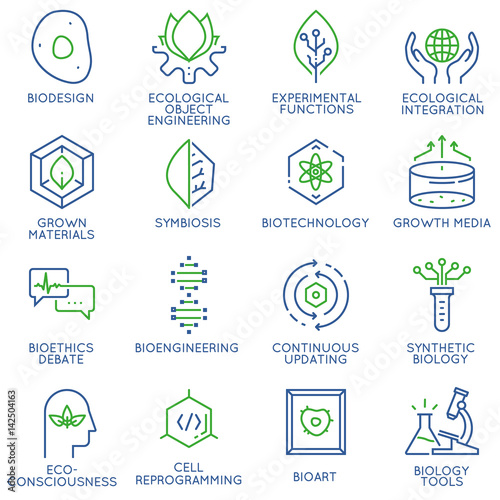 Valokuva  Vector set of 16 linear thin icons related to bio design, biotechnology and bioengineering